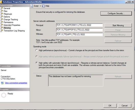 SQL Mirroring Setup14