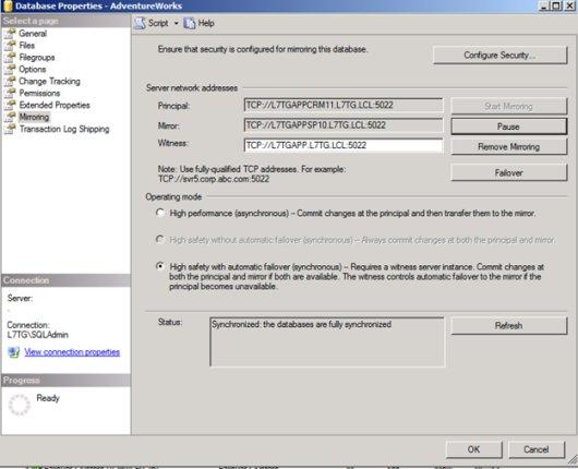 SQL Mirroring Setup15