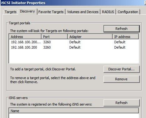 Microsoft iSCSI Initiator Discovery tab