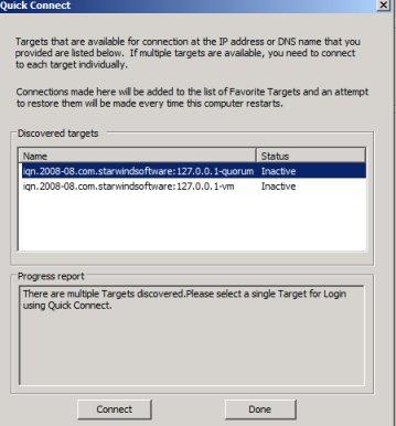 Microsoft iSCSI Initiator Quick Connect