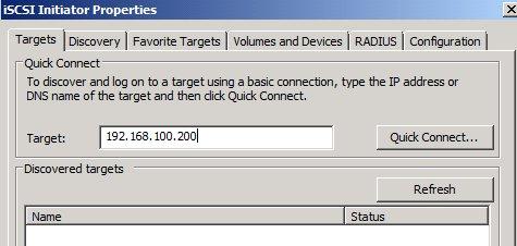 Microsoft iSCSI Iniator Target tab