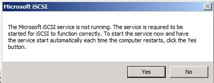 Microsoft iSCSI Initiator warning