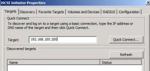 Create FC iSCSI Target tab