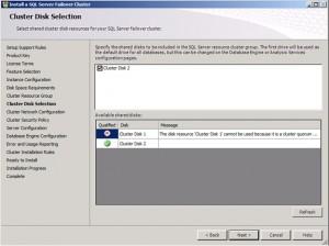 SQL Disk Selection