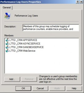 Performance Log Users Group Properties