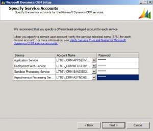 Specify the Service Accounts