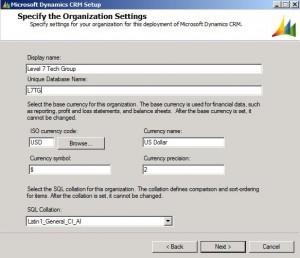 CRM Organization Settings