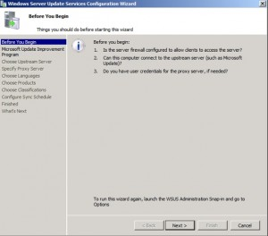 Begin WSUS configuration